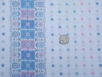 "vintage 36"" wide cotton fabric, pink and blue dots and daisies print border"