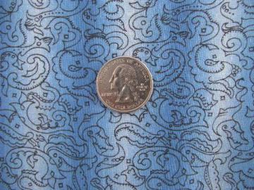 vintage 36'' wide cotton quilting fabric, black print on blue / white shadow stripe