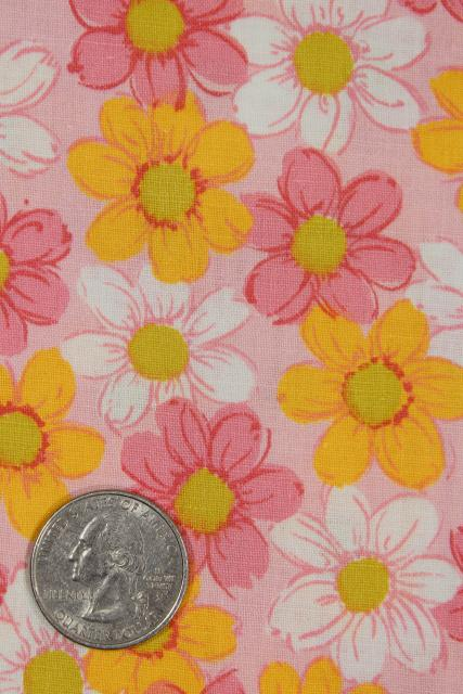 vintage 36 wide fabric, quilting weight cotton print cosmos flowers orange & pink floral