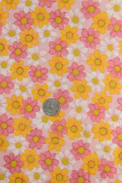 EMBROIDERED DAISIES ON PINK COTTON PIQUE FABRIC 58 WIDE