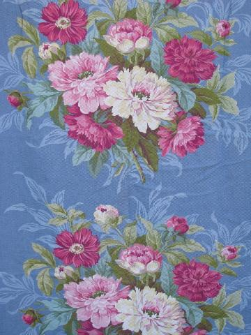 vintage 40s 50s cotton print curtains, drapes w/ Chinese peonies floral