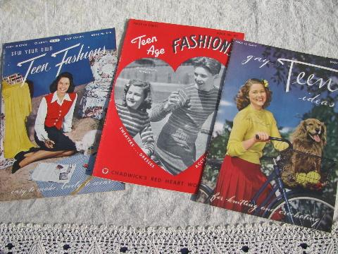 vintage 40s fashions for teen-age girls, sweaters to knit, skirts to sew