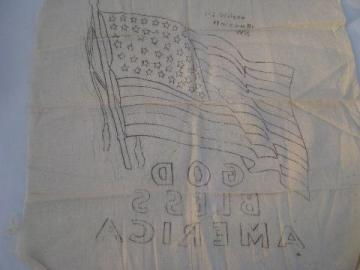 vintage 48 star US flag to embroider, american WWII victory patriotic picture