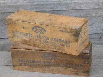 vintage 5 lb E-Z Cheese boxes primitive old wooden cheese boxes lot & vintage wood and metal boxes Aboutintivar.Com
