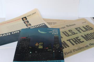 vintage 50 year old Chicago Tribune newspaper & supplement, Moon landing July 21 1969