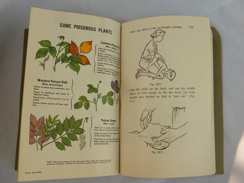 vintage 50s 4th edition American Red Cross First Aid book, illustrated