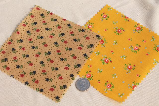 vintage 60s 70s cotton print fabric squares, 80+ quilt block patches pinked edges