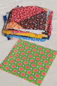 vintage 60s 70s cotton print fabric squares, 80+ quilt block patches pinked edges