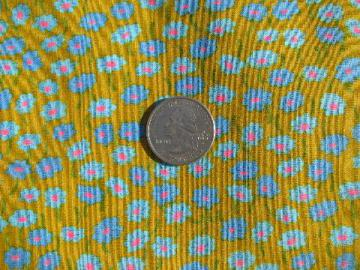 vintage 60s cotton fabric, retro flower power daisies print on yellow-gold