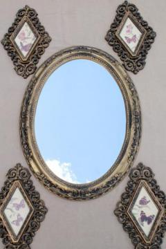 vintage 60s rococo framed mirror & pictures wall art collection, retro butterfly