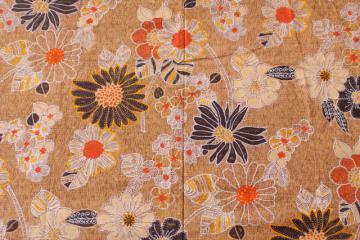 vintage 70s batik look Hawaiian print cotton fabric, warm earth tone colors