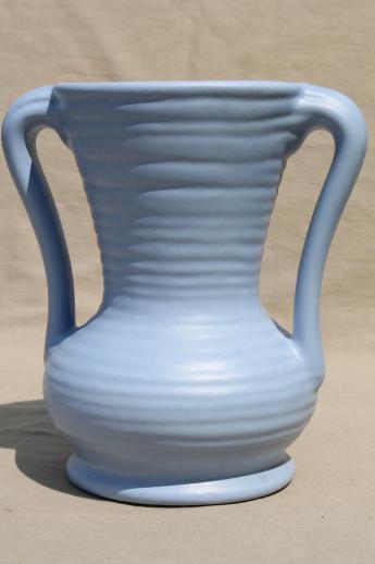 Vintage Abingdon Pottery Vase Wedgwood Blue Matte Glaze Urn Shape W Handles