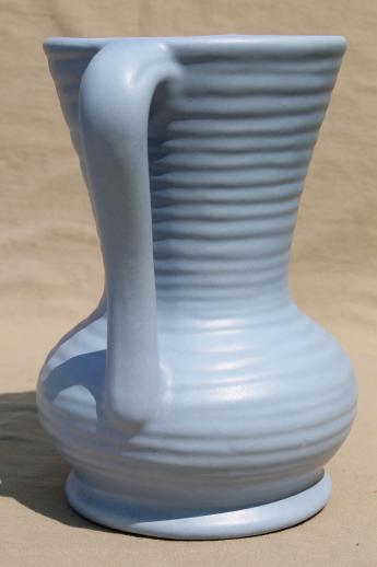 Vintage Abingdon Pottery Vase Wedgwood Blue Matte Glaze Urn Shape W