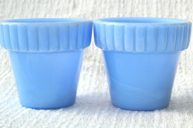 vintage Akro Agate glass tiny planter flower pots, sky blue milk glass
