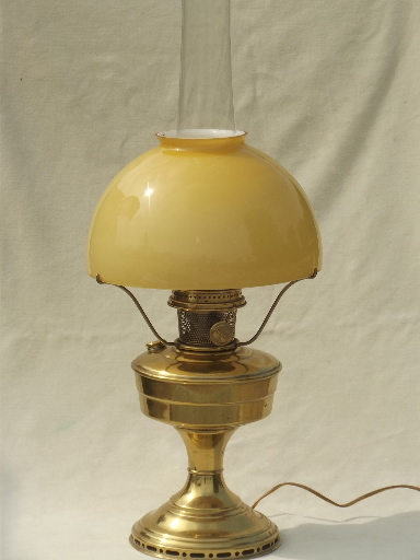 Awesome Vintage Aladdin Brass Lamp, Converted Model 12 Oil Lamp W/ Cased Glass Shade