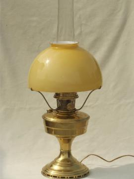 vintage Aladdin brass lamp, converted model 12 oil lamp w/ cased glass shade
