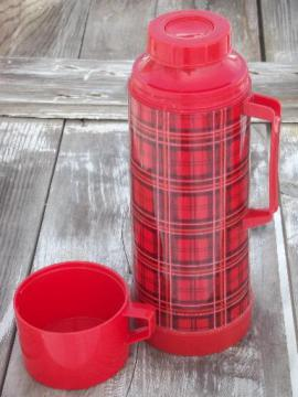 vintage Aladdin red plaid thermos bottle for camping, picnics