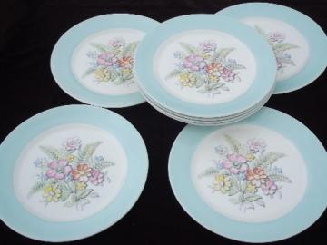 vintage American Limoges china plates set, Oslo or Norway blue band border