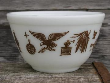 vintage American heritage brown eagle pattern Pyrex, small mixing bowl