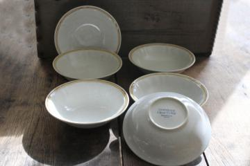 vintage Americana Hearthside Japan Heritage tan stoneware cereal or soup bowls