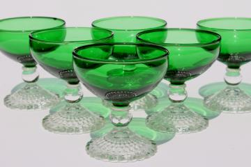 vintage Anchor Hocking Berwick champagne coupes, forest green glass / crystal stem glasses