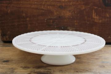 Vintage 10 across Frosted Glass Cake Pedestal