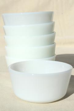 vintage Anchor Hocking Fire King milk glass custard cups or ramekins, tiny bowl baking dishes