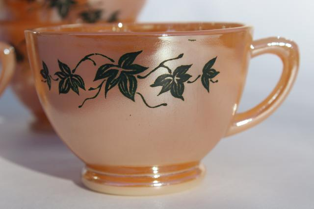 vintage Anchor Hocking Fire King peach luster copper tint punch cups w/ black ivy leaves
