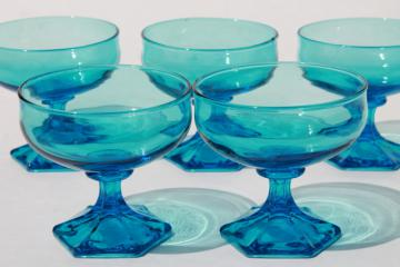 vintage Anchor Hocking Flair sherbet glasses, laser blue glass stemware
