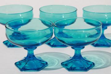 vintage Anchor Hocking Flair sherbet glasses, laser blue glass stemware