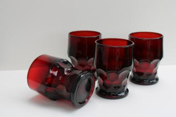 vintage Anchor Hocking Georgian pattern tumblers, royal ruby red drinking glasses