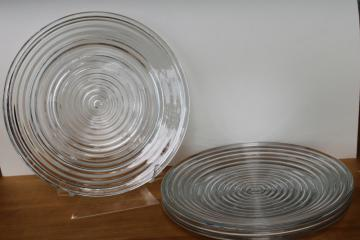 vintage Anchor Hocking Manhattan depression glass dinner plates, stacked rings pattern