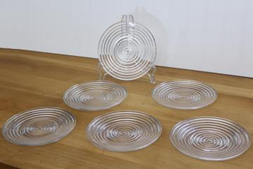 vintage Anchor Hocking Manhattan pattern depression glass, set of 6 small plates