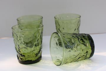 vintage Anchor Hocking Milano crinkle textured glass lowballs, avocado green