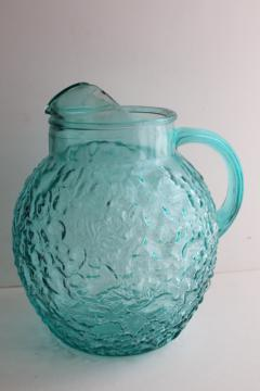 vintage Anchor Hocking Milano crinkle textured glass pitcher, icy aqua blue color