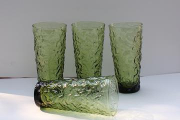 vintage Anchor Hocking Milano crinkle textured glass tall tumblers, avocado green