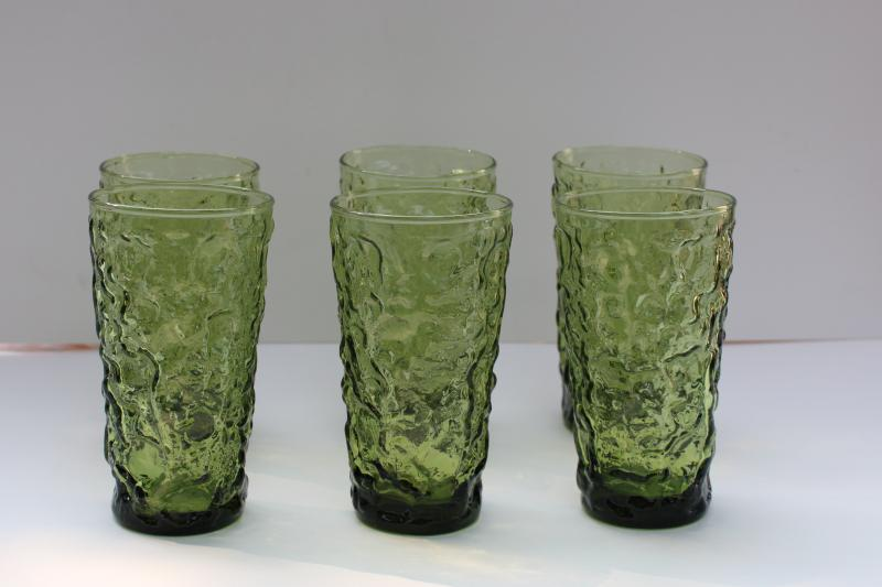 vintage Anchor Hocking Milano crinkle textured glass tumblers, avocado green
