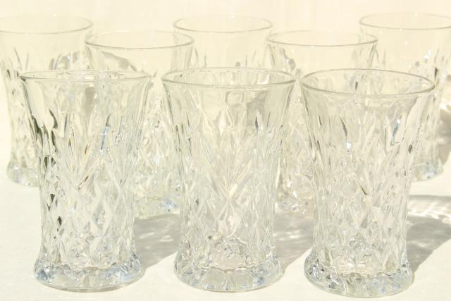 vintage Anchor Hocking Pres-Cut oatmeal pineapple pattern tumblers, EAPC drinking glasses