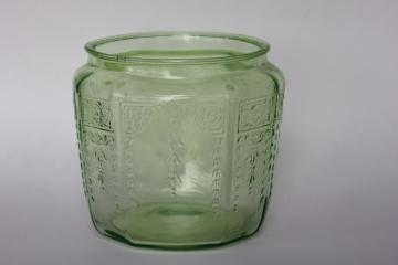 vintage Anchor Hocking Princess pattern green depression glass cookie or biscuit jar