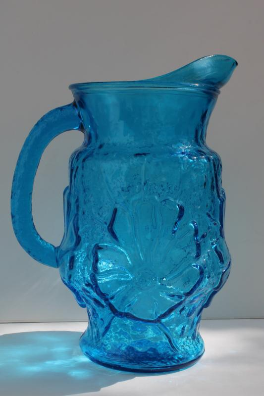 vintage Anchor Hocking Rainflower pattern laser blue aqua glass pitcher