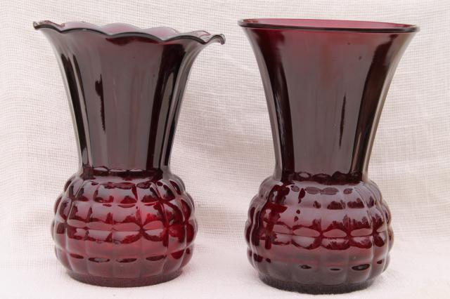 Vintage Anchor Hocking Royal Ruby Red Glass Vases Large Flower