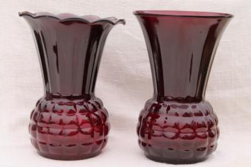 vintage Anchor Hocking Royal Ruby red glass vases - large flower vase crimped & plain
