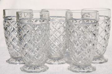 vintage Anchor Hocking Waterford waffle pattern glass drinking glasses, footed tumblers