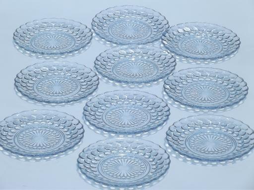 sc 1 st  Laurel Leaf Farm & vintage Anchor Hocking blue bubble glass cake / dessert plates set of 10