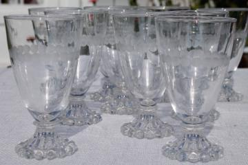 vintage Anchor Hocking boopie bead edge footed tumblers, wine or water glasses w/ etched dots
