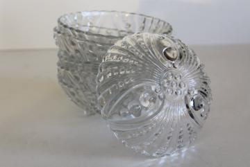 vintage Anchor Hocking bubble burple pattern glass dessert bowls, crystal clear glass