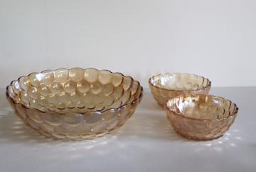 vintage Anchor Hocking bubble pattern berry bowls, copper tint iridescent peach luster
