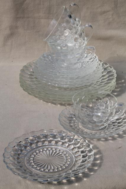 vintage Anchor Hocking bubble pattern clear depression glass dinnerware set for 4 & vintage Anchor Hocking bubble pattern clear depression glass ...