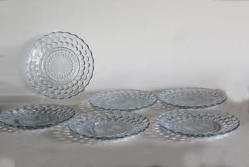 vintage Anchor Hocking bubble pattern plates, sapphire blue depression glass