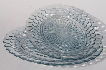 vintage Anchor Hocking bubble pattern platters, sapphire blue depression glass